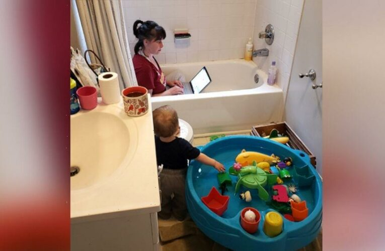 Photo of mom working in bathtub leads to reflection on child care crisis