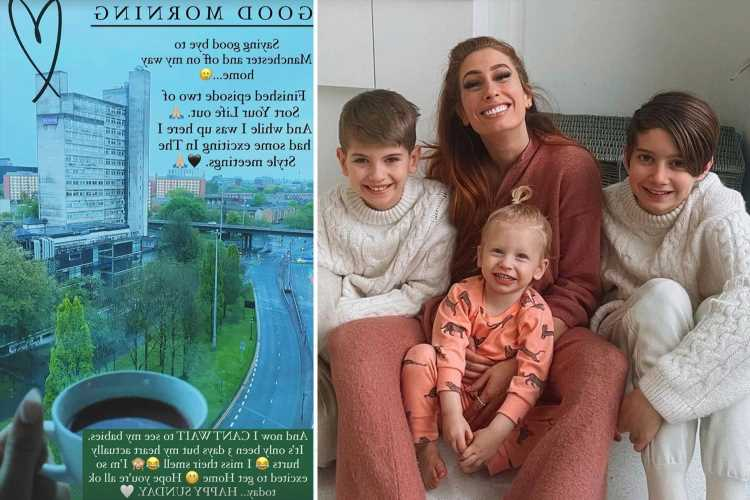 Stacey Solomon says her 'heart hurts' after going three days without seeing her children as she films TV show