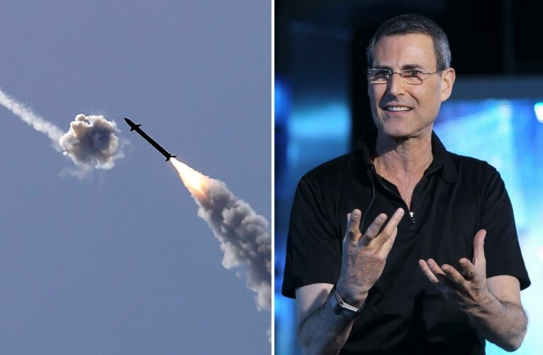 Uri Geller films terrifying moment he cowers in bathroom with wife as Hamas rockets explode near their Israel home