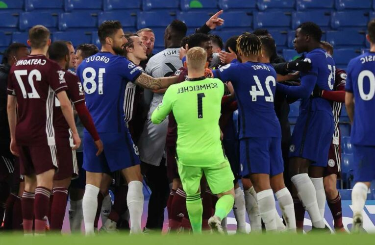 Watch Chelsea and Leicester in 30-MAN brawl as coaches and subs clash after Rudiger shoves Pereira