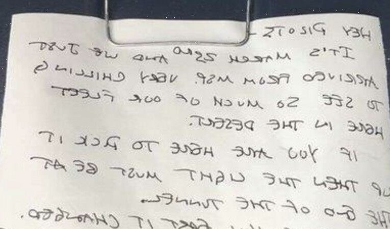 'Apocalyptic, surreal' pandemic time capsule note discovered on plane