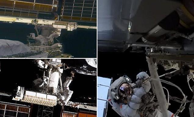 Astronauts install new solar panel on International Space Station