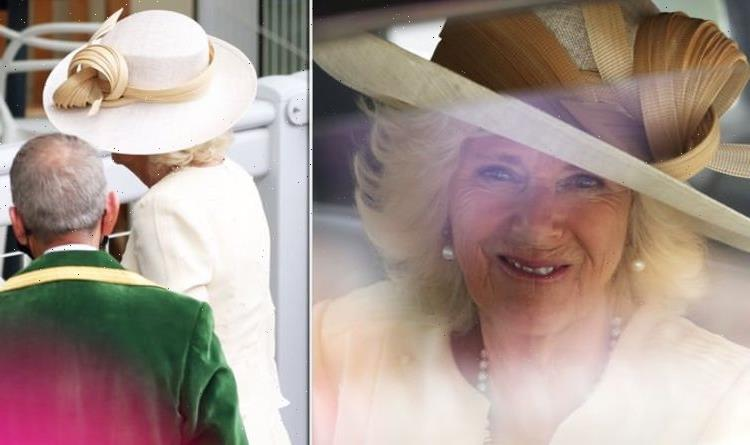 Camilla, Duchess of Cornwall in gold and cream on Ascot Day 2