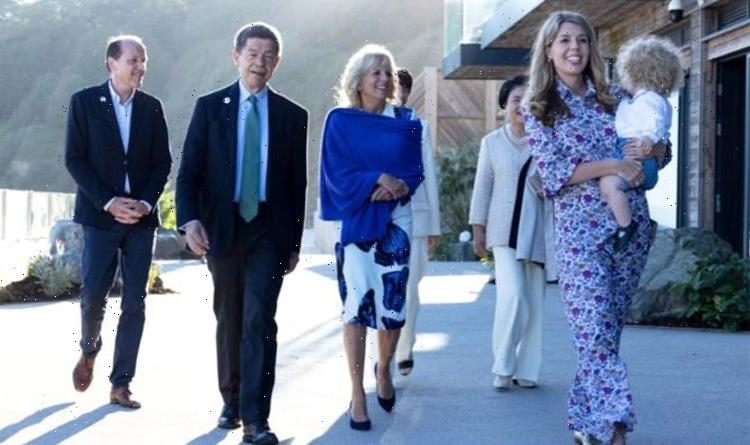 Carrie Johnson wears long floral dress at beach BBQ in Cornwall with son Wilfred