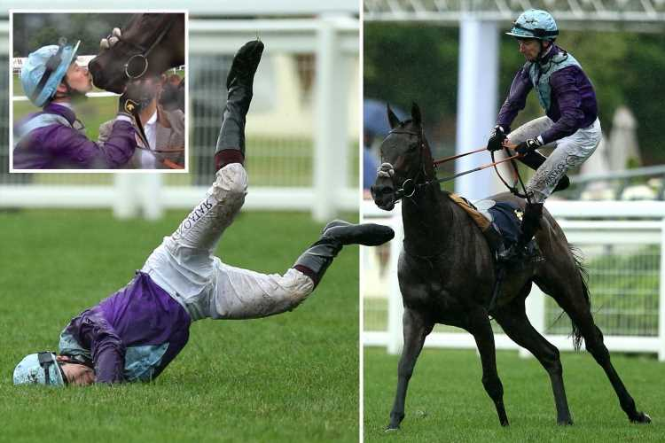 Dramatic moment Royal Ascot jockey Oisin Murphy faceplants turf after being booted off horse – before it ends in a kiss