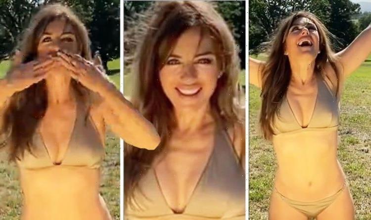 Liz Hurley, 56, sparks meltdown as she flaunts cleavage in nude bikini amid new milestone