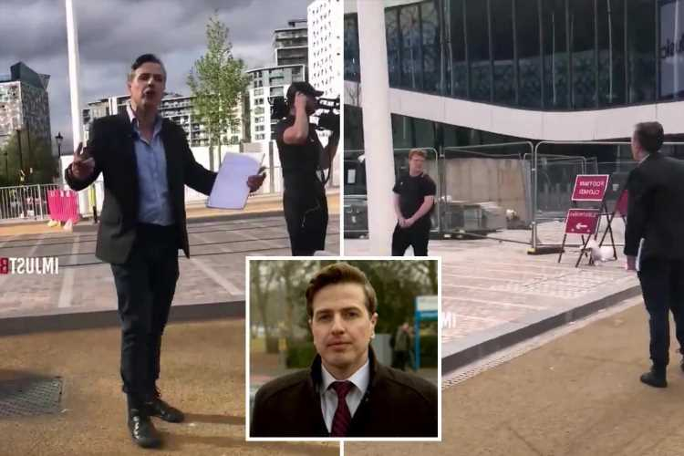 Moment ITV reporter shouts 'I'll f***ing bang you out' in astonishing rant at 'idiot' who got in shot