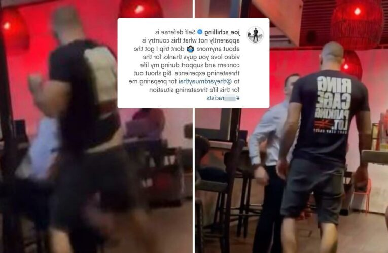 Moment MMA star Joe Schilling knocks out man in bar with brutal two-punch combo as he insists it was 'self-defence'