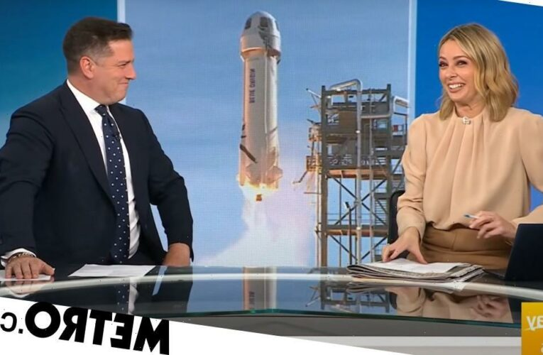 Newsreaders can't stop laughing at the shape of Jeff Bezos' rocket