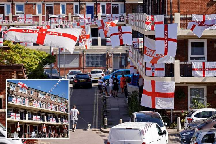 Patriotic residents cover their ENTIRE estate with 400 England flags to cheer on the Three Lions during the Euros