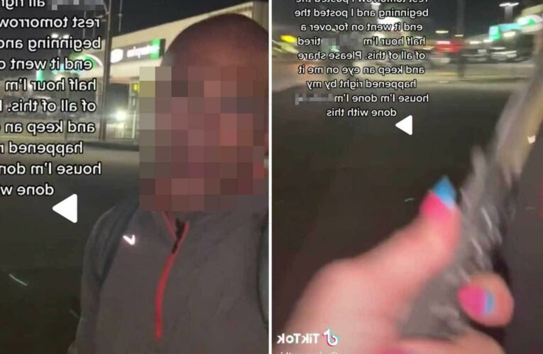 Scary moment woman pulls knife on man who 'followed her for 30 mins' in middle of night