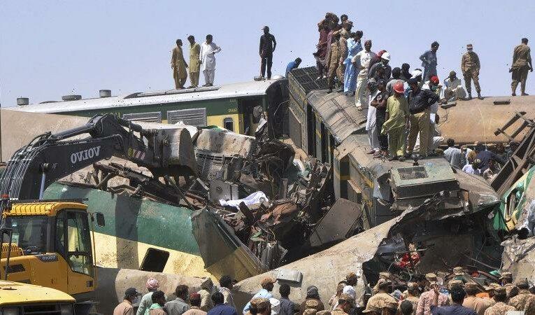Train barrels into another in Pakistan, killing dozens