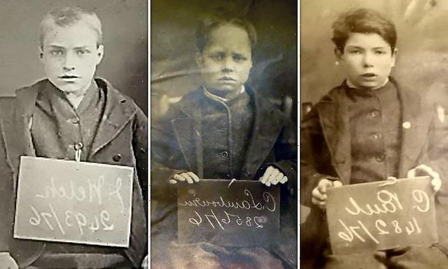 Young criminals pose with name and date of offence in 1870s mugshots