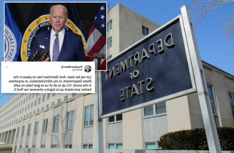 Biden condemns anti-Semitism after swastika found at State Department