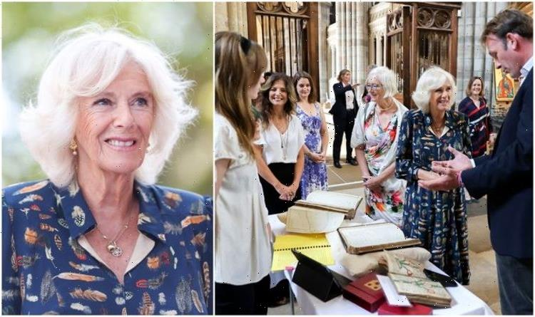 Camilla dazzles in bold print at Exeter Cathedral for Freedom Day