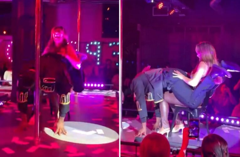 Chloe Ferry squeals as hunky stripper TWERKS on her lap during raunchy performance