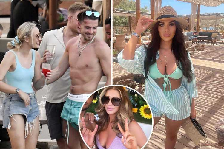Euro 2020 hero Jack Grealish parties with Towie stars Amy Childs and Chloe Brockett in Mykonos