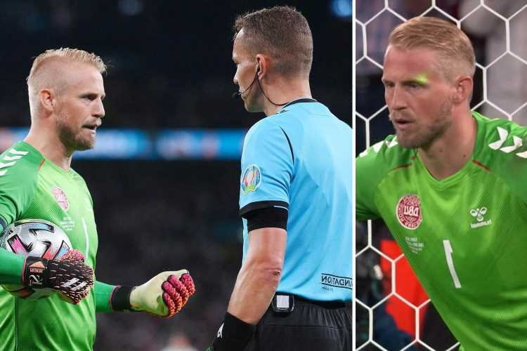 Kasper Schmeichel reveals he complained to ref about laser pen before Harry Kane's penalty in England win over Denmark