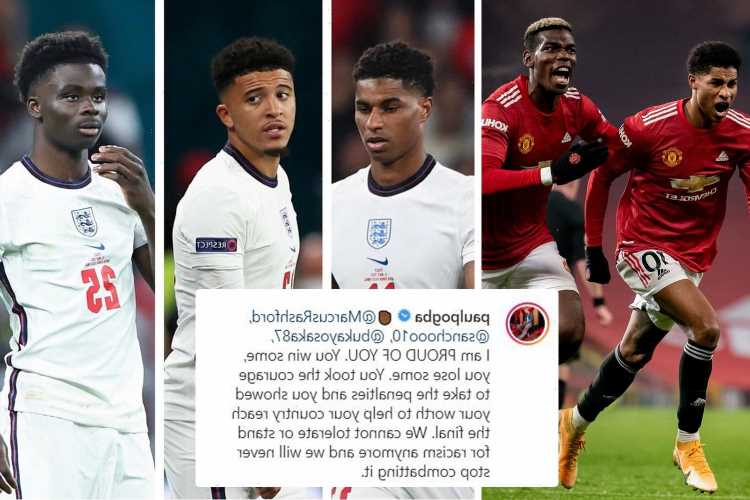 Man Utd star Paul Pogba offers Saka, Sancho and Rashford support as England icons suffer racist abuse after Euro 2020