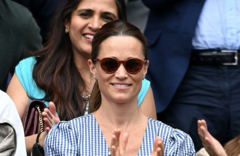 Pippa Middleton wows in blue dress at Wimbledon with husband James for post-baby day out