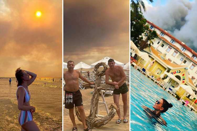 Selfie-loving tourists hit Turkish beaches despite apocalyptic scenes as raging wildfires blot out the sun
