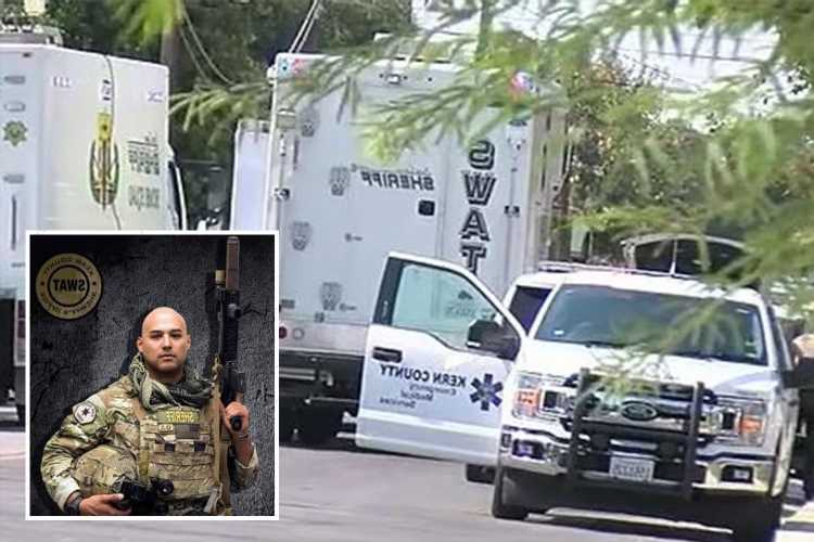 Sheriff's deputy shot dead & two cops injured after being blasted with gunfire in standoff with gunman inside home