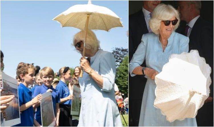 'Stylish in the sunshine': Camilla shines in baby blue on last day of Cornwall trip