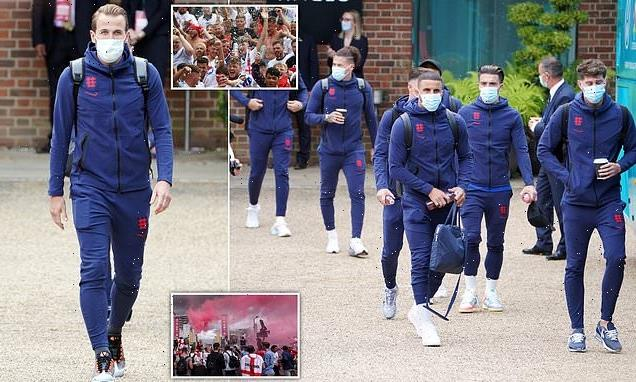 They're leaving home! England team cheered as they depart for Wembley
