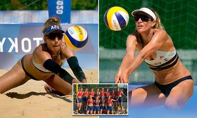 US women's beach volleyball team wears bikinis to practice
