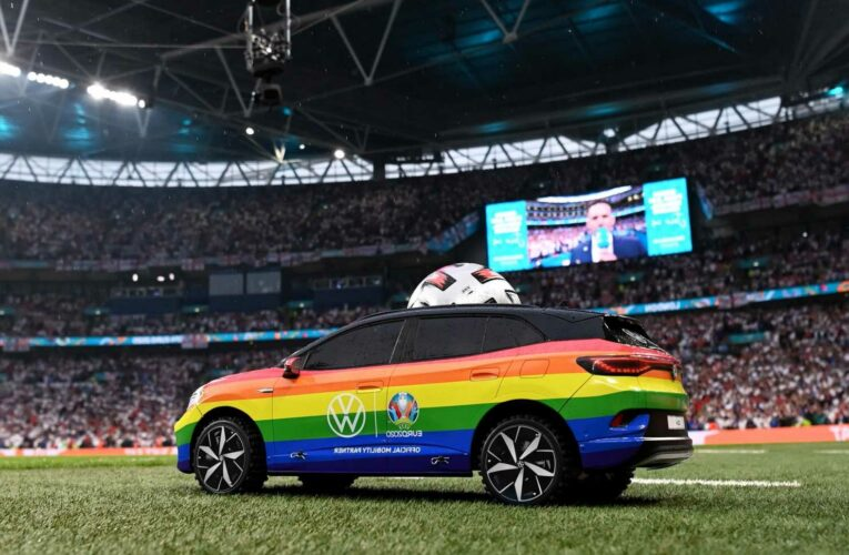 Watch rainbow car drive Euro 2020 final ball onto pitch before England's showdown with Italy – and fans love it