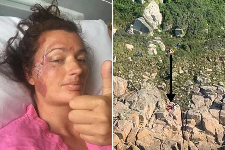 Woman, 37, relives horror moment she fell off 60ft cliff on family walk breaking her back but SURVIVED