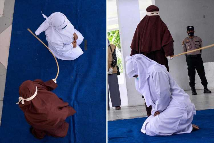 Woman is brutally caned in public just for being 'too close' to her boyfriend in Indonesia