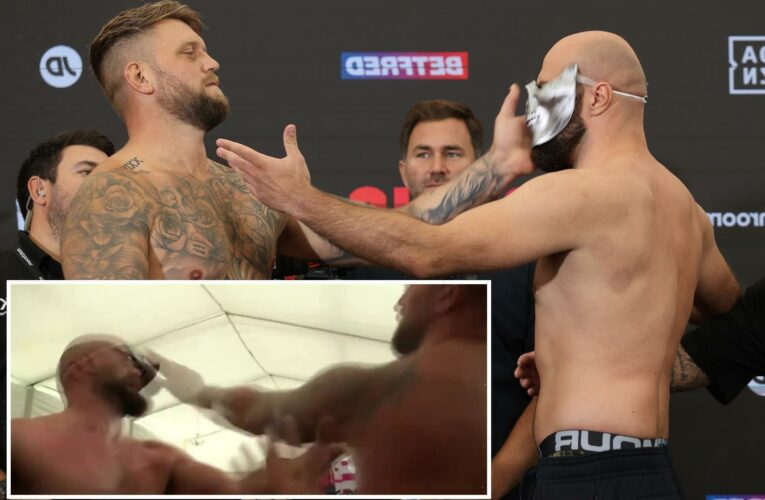 Alen Babic and Mark Bennett get into SLAP fight at weigh-in as security forced to step in and separate boxers