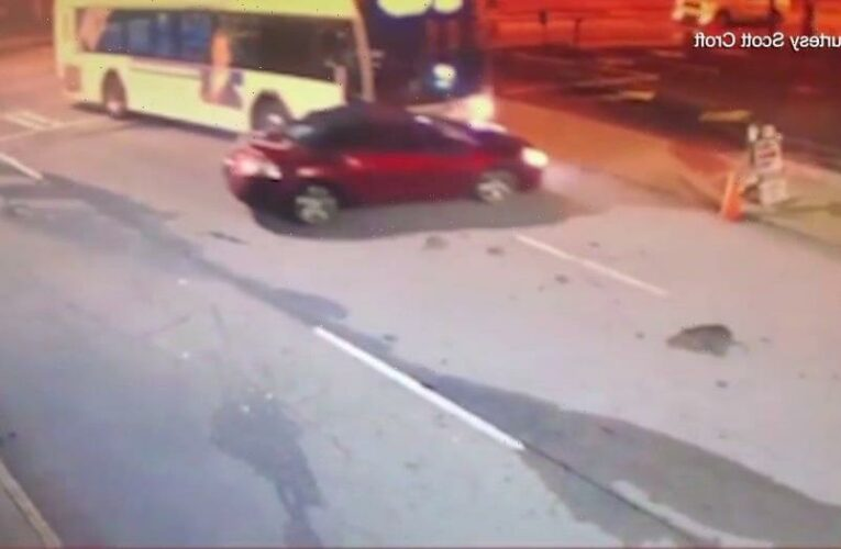 Atlanta bus pushes car down street in wild scene caught on video