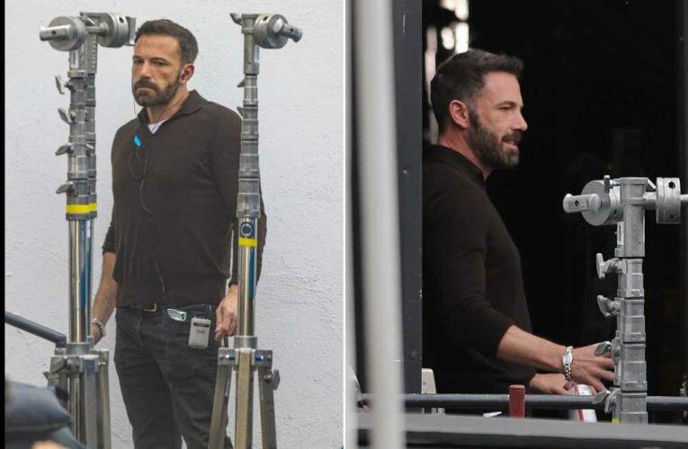 Ben Affleck visits Jennifer Lopez on the set of her new project