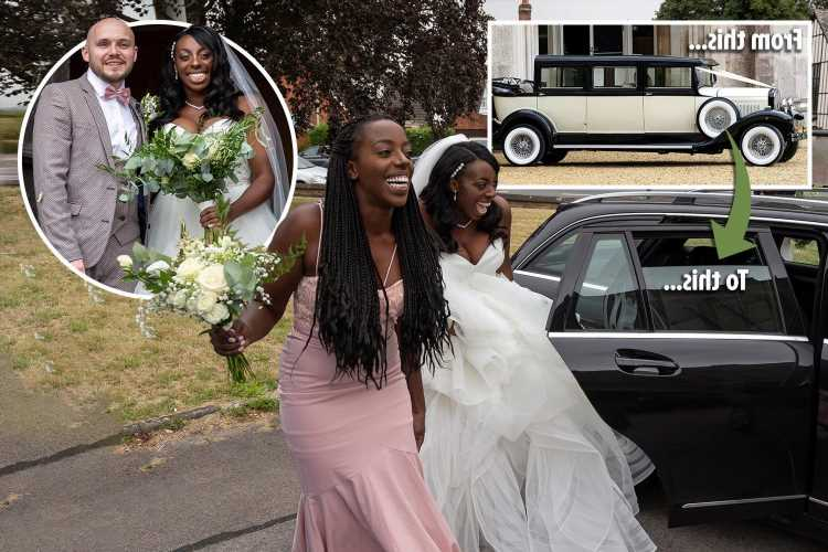 Bride hitches a ride to church after her vintage Ford wedding car broke down