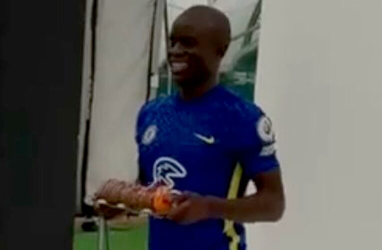 Chelsea fans baffled as they spot N'Golo Kante holding caterpillar birthday cake in pre-season video