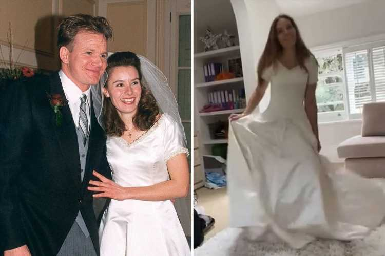 Gordon Ramsay's wife Tana slips back into wedding dress she first wore 25yrs and five pregnancies ago'
