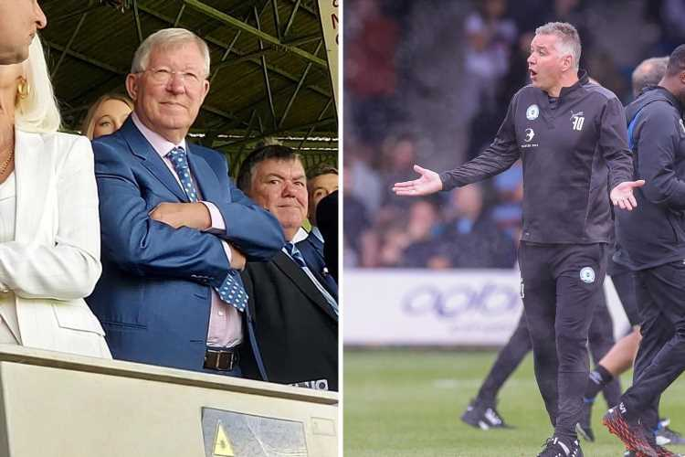 Man Utd icon Sir Alex Ferguson watches on from Luton stands as Peterborough boss son Darren is booked for rowing