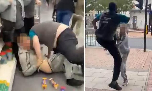 Moment one-armed Poundland store worker KARATE KICKS 'shoplifter'