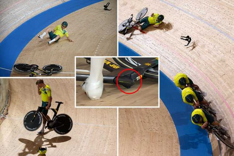 Olympic cyclist in bizarre crash as handlebars snap off at 65kmh after 'incredibly rare' equipment fail at Tokyo 2020