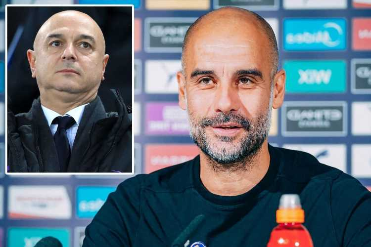 Pep Guardiola's message to Daniel Levy was clear over Harry Kane as Man City boss appears to change his transfer stance