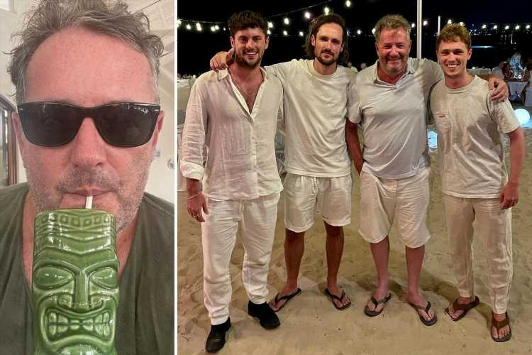 Piers Morgan and his sons channel Boyzone as they wear matching outfits just days after holidaying with Ronan Keating