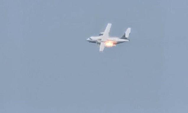 Russian military plane crashes in explosion with three feared dead