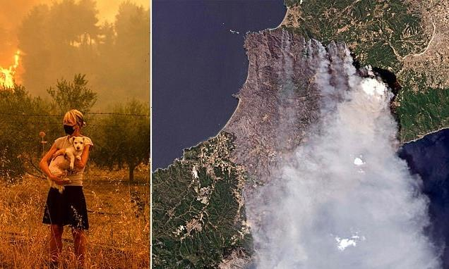 Smoke blots out the sun in Greece as wildfires rage into seventh day
