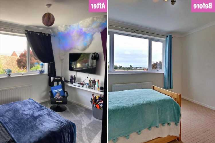 Thrifty mum creates son's dream galaxy-inspired bedroom on a budget – including cheap DIY clouds