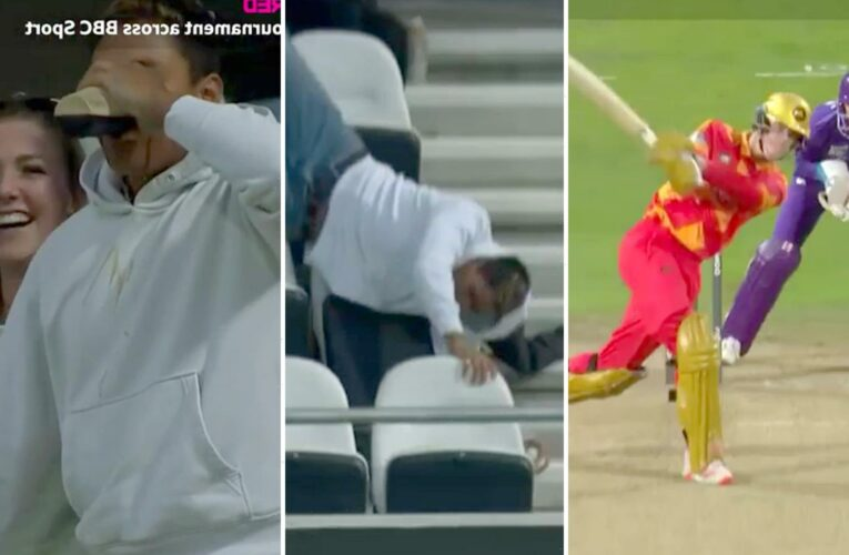 Watch fan take incredible catch from humongous Liam Livingstone six before falling over and necking beer at Headingley