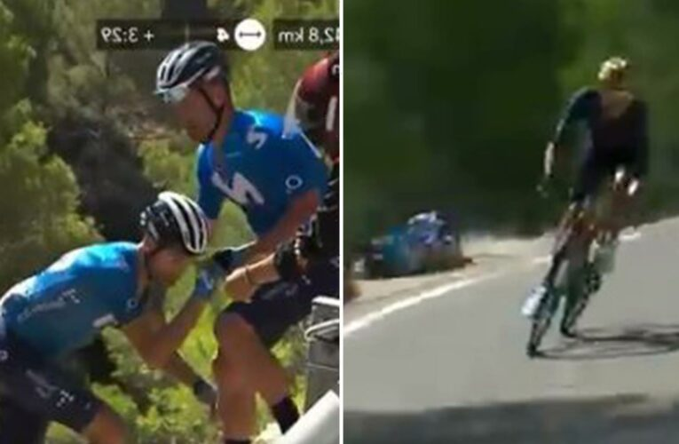 Watch moment cyclist Valverde suffers horror crash and comes inches from falling off cliff face before team-mate helps