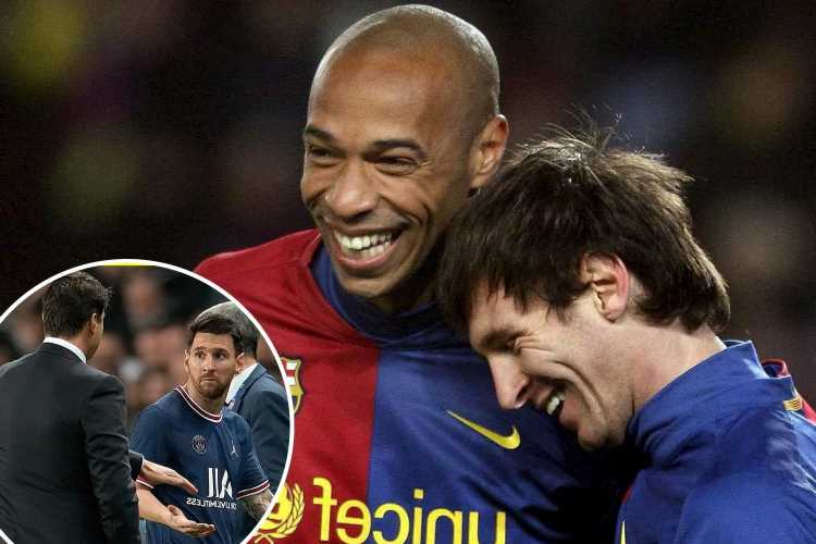 Arsenal icon Thierry Henry 'not surprised' by ex-Barcelona team-mate Lionel Messi's reaction to being subbed at PSG