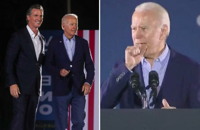 Biden loudly coughs through Newsom speech sparking health concerns as viewers say he 'looked feverish'